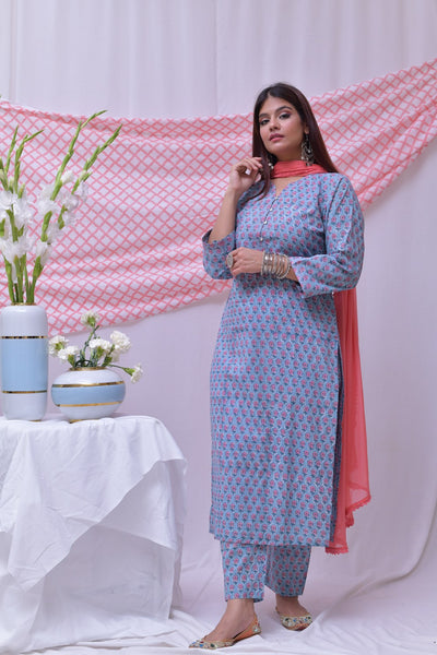 Blue Pink Cotton Hand Block Printed Kurta - label shreya gupta