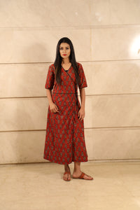 Red Ajrakh Cotton Dress - label shreya gupta
