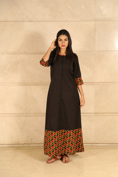 Black Ajrakh Cotton Dress - label shreya gupta