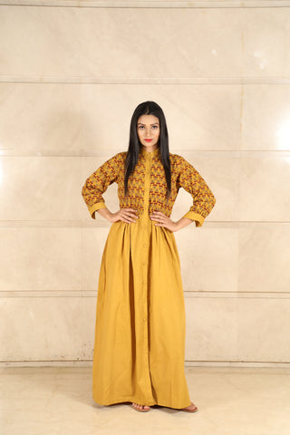 Yellow Ajrakh Cotton Dress - label shreya gupta