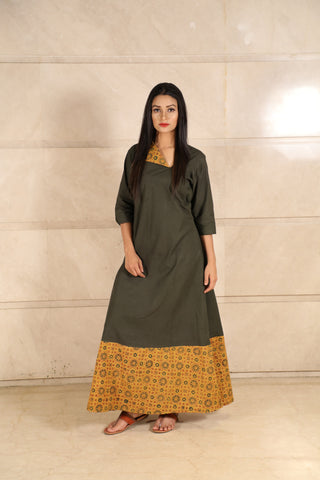 Green Ajrakh Cotton Dress - label shreya gupta