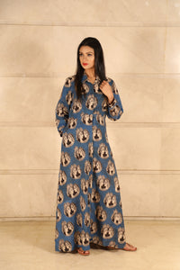 Blue Ajrakh Cotton Dress - label shreya gupta
