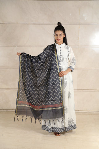 Black Chanderi Dupatta - label shreya gupta