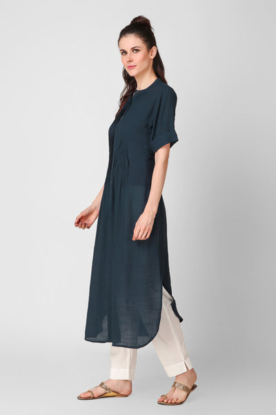 Navy Blue Linen Crepe Button Down Kurta - label shreya gupta