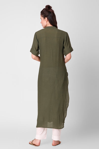 Olive Green Linen Crepe Button Down Kurta - label shreya gupta