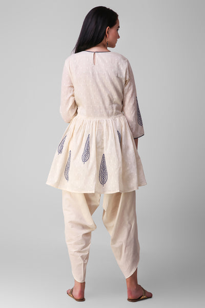 Cream Blue Cotton Kurta Dhoti-set of 2 - label shreya gupta