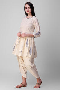 Cream Blue Cotton Kurta - label shreya gupta