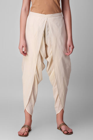 Cream Cotton Dhoti Pants - label shreya gupta