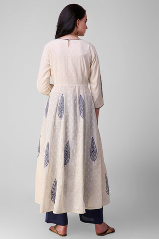 Cream Blue Cotton Anarkali Kurta - label shreya gupta