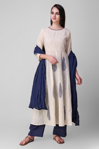 Cream Blue Cotton Anarkali Suit - Set of 3 - label shreya gupta