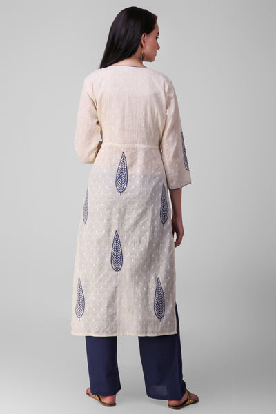 Cream Blue Cotton Hand Block Printed Suit - Set of 3 - label shreya gupta