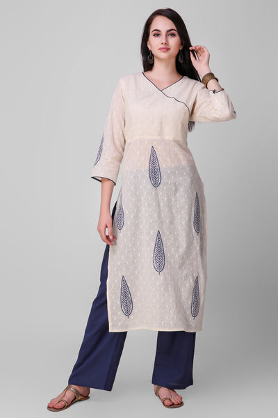 Cream Blue Cotton Hand Block Printed Kurta - label shreya gupta