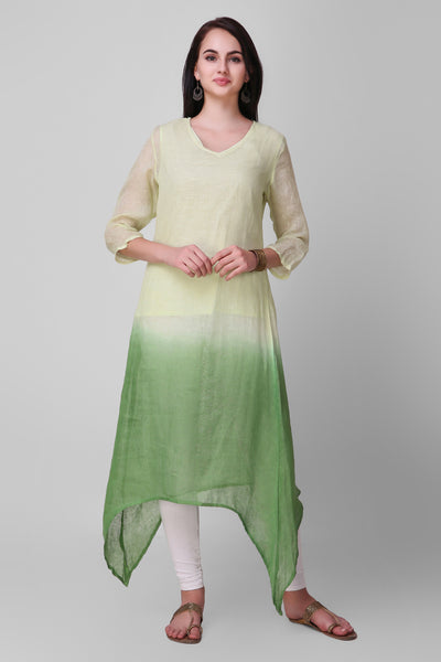 Green Ombre Linen Asymmetric Kurta - label shreya gupta
