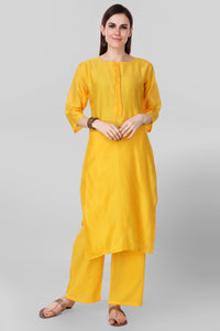 Yellow Chanderi Silk Kurta - label shreya gupta