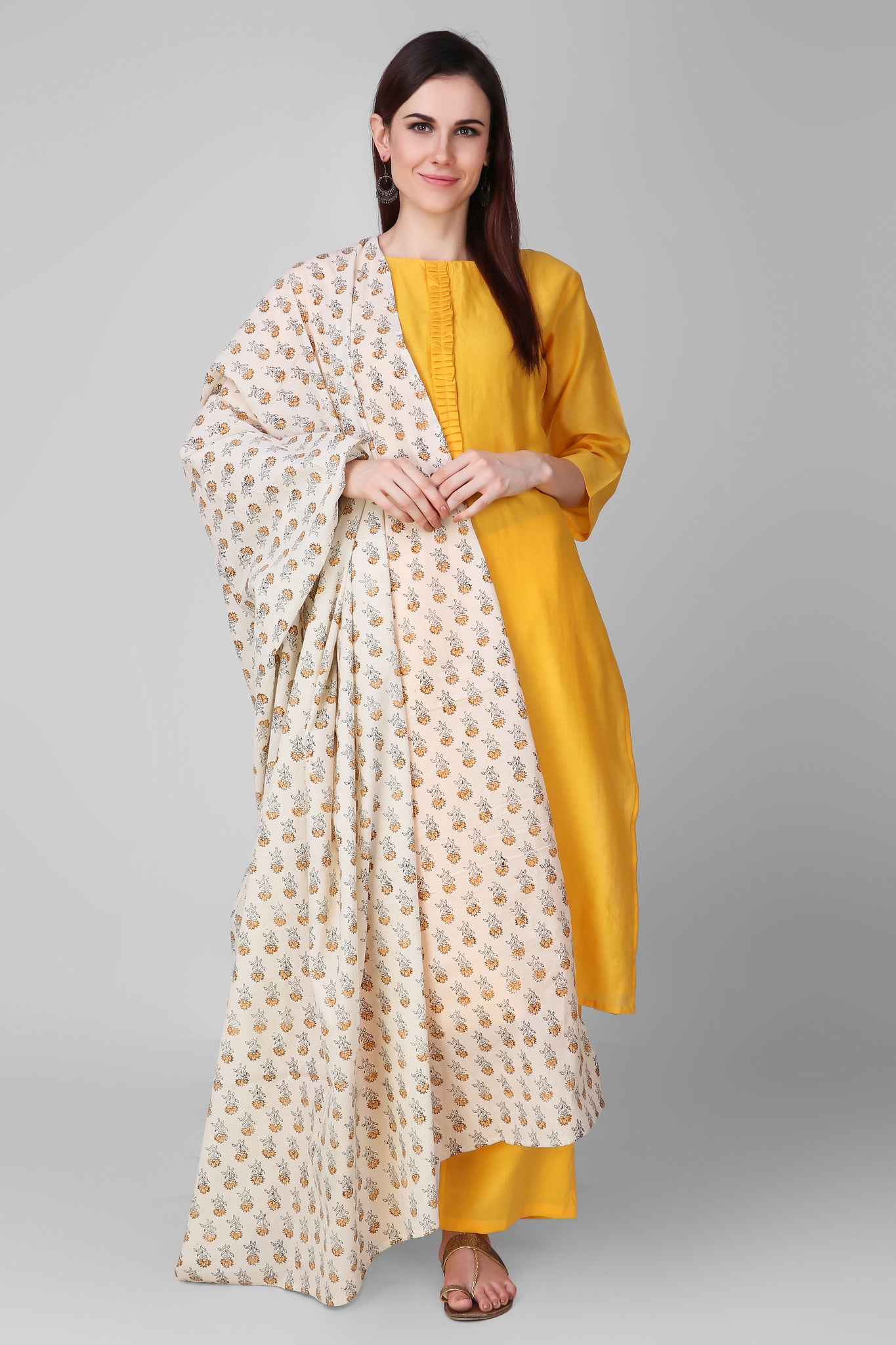 Yellow-Cream Cotton Hand Block Printed Dupatta - label shreya gupta