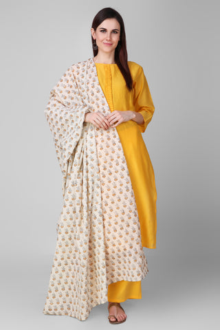 Yellow-Cream Chanderi-Silk Hand Block Printed Suit - Set of 3 - label shreya gupta