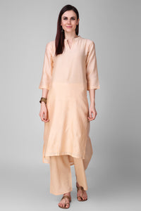 Beige Chanderi Silk Kurta - label shreya gupta