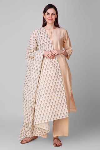 Beige-Cream Chanderi-Silk Hand Block Printed Suit - Set of 3 - label shreya gupta
