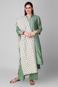 Coral Green-Cream Chanderi-Silk Hand Block Printed Suit - Set of 3 - label shreya gupta