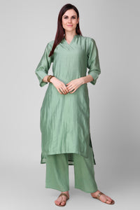 Coral-green Chanderi Silk Kurta - label shreya gupta