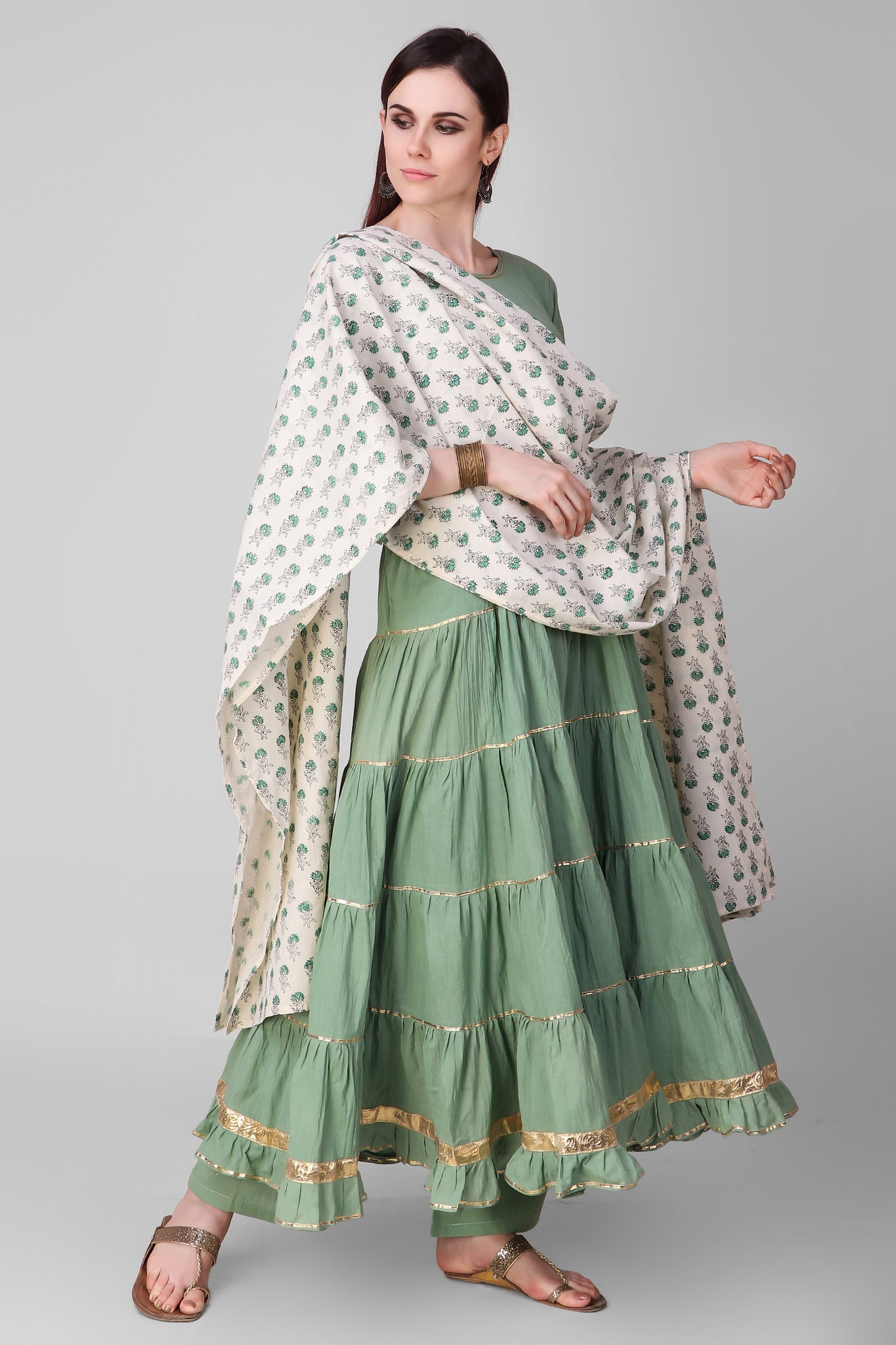 Cream Coral Green Cotton Dupatta - label shreya gupta