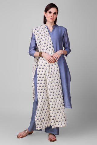 Pastel Blue-cream Chanderi-Silk Hand Block Printed Suit - Set of 3 - label shreya gupta