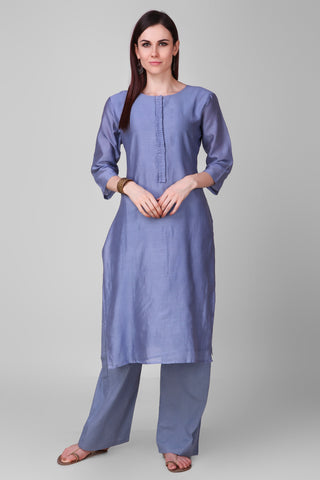 Pastel-Blue Chanderi Silk Kurta - label shreya gupta