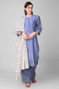 Pastel Blue-Cream Hand Block Printed Cotton Dupatta - label shreya gupta