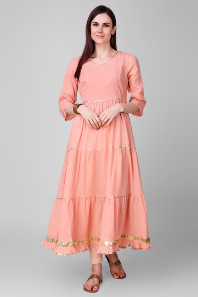 Peach Cotton Palazo - label shreya gupta