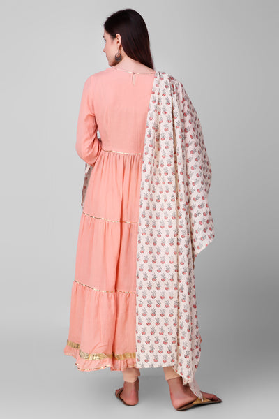Peach Cotton Hand Block Printed Anarkali Suit-Set of 3 - label shreya gupta