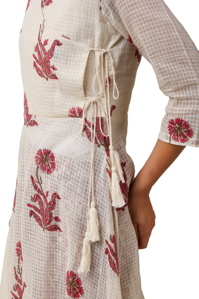 Pink White Hand Block Printed Suit - Set of 2 - label shreya gupta