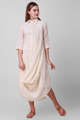 White-Gold Zari Woven Cotton Drape Dress - label shreya gupta