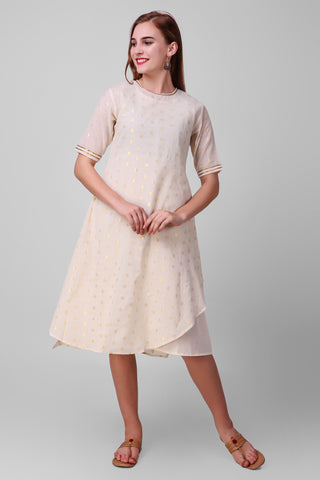 White-Gold Zari Woven Cotton Dress - label shreya gupta