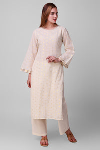 White-Gold Woven Cotton Straight Kurta - label shreya gupta