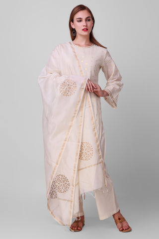 White-Gold Cotton Chanderi Hand Block Printed Suit - Set of 3 - label shreya gupta