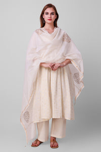 White-Gold Chanderi Silk Dupatta - label shreya gupta