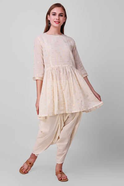 White-Gold Cotton Dhoti Pants - label shreya gupta