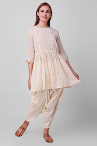 White-Gold Zari Woven Cotton Short Kurta - label shreya gupta