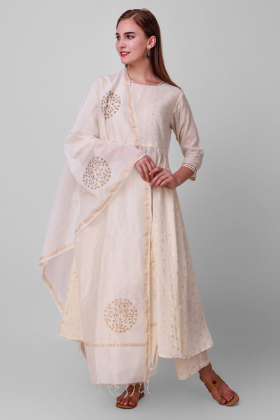 White-Gold Zari Woven Cotton Hand Block Printed Anarkali Suit - Set of 3 - label shreya gupta