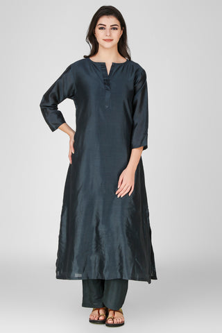 Teal Blue Chanderi Kurta - label shreya gupta