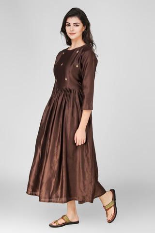 Brown Chanderi Dress - label shreya gupta