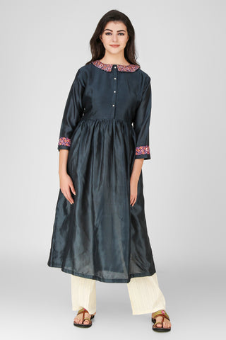 Teal Blue Floral Embroidered Chanderi Kurta - label shreya gupta