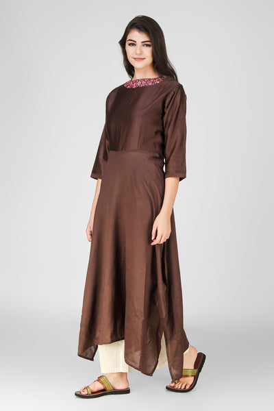 Brown Chanderi Kurta - label shreya gupta