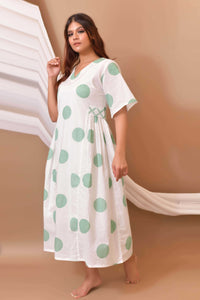 Mint White Hand Block Printed Cotton Dress