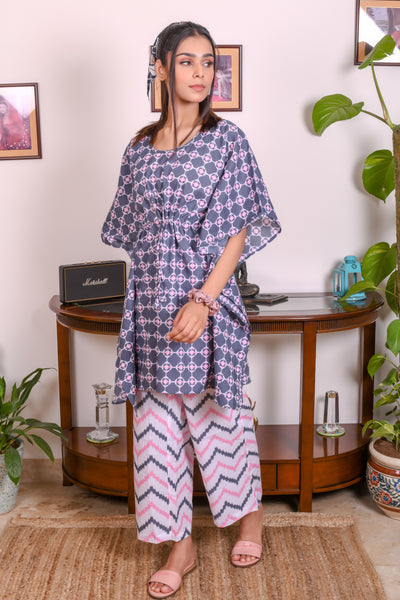 Pink Hand Block Printed Cotton Kaftan- Set of 2