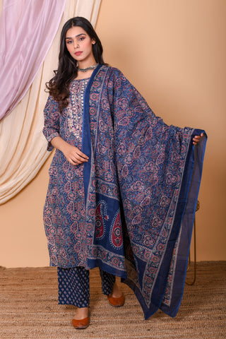 Blue Embroidered Ajrak Cotton Embroidered Suit-Set of 3