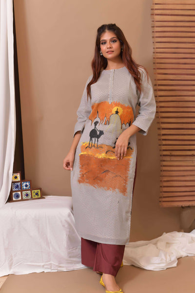 Light Grey Hand Painted Kurta & Palazo - Set of 2