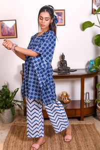 Blue Hand Block Printed Cotton Kaftan- Set of 2