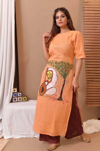 Orange Hand Painted Cotton Kurta