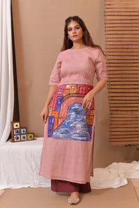 Pink Hand Painted Cotton Kurta